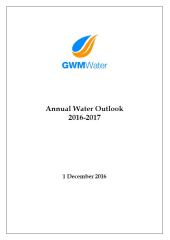 2016 17 Annual Water Security Outlook Report